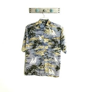 Nautica Mens M Tropical Linen Button Up Shirt